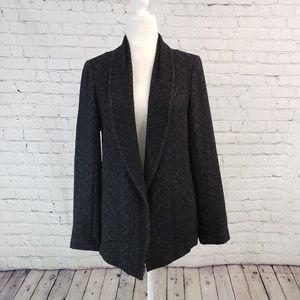 Eileen Fisher blazer, open front, black/gray Small